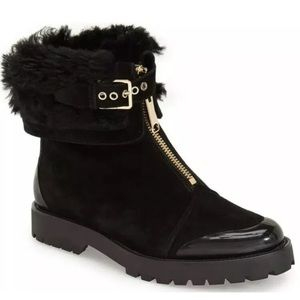 Burberry Quinsley Black Suede Shearling Boots Sz 6